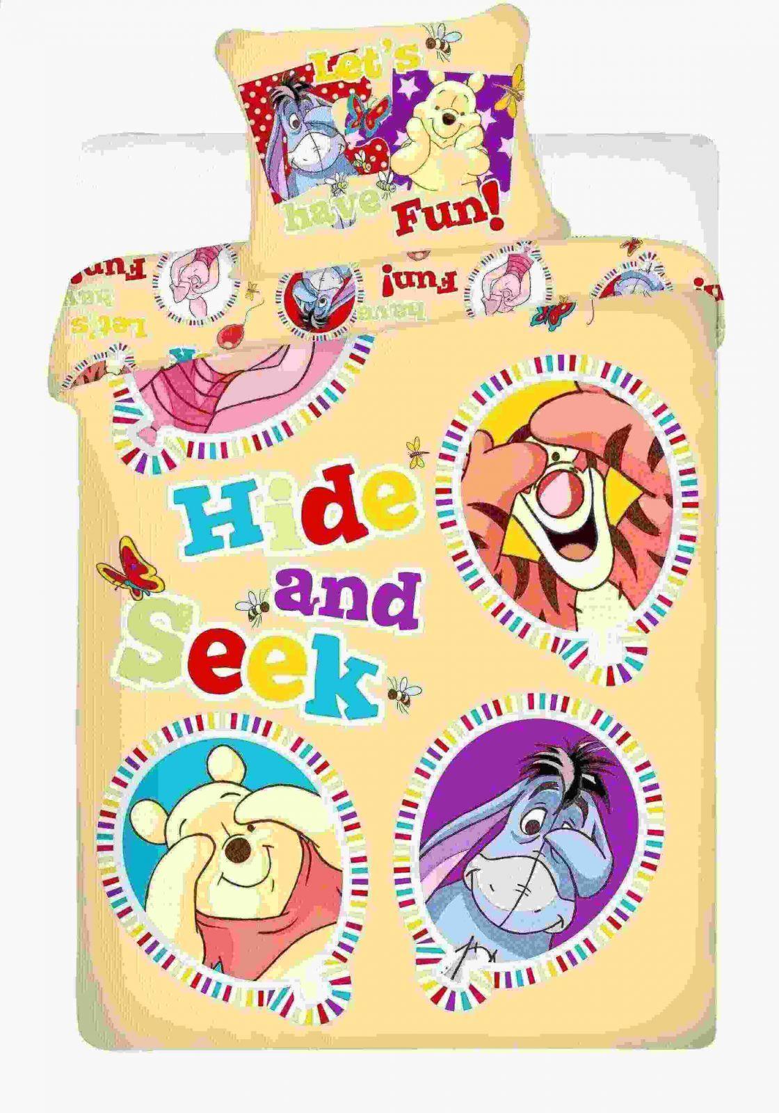 Povlečení z bavlny dětské s Medvídkem Pú a jeho přáteli ve žluté barvě Jerry Fabrics