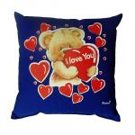 Svítící polštářek Medvídek Y love you modrý 28x28 cm